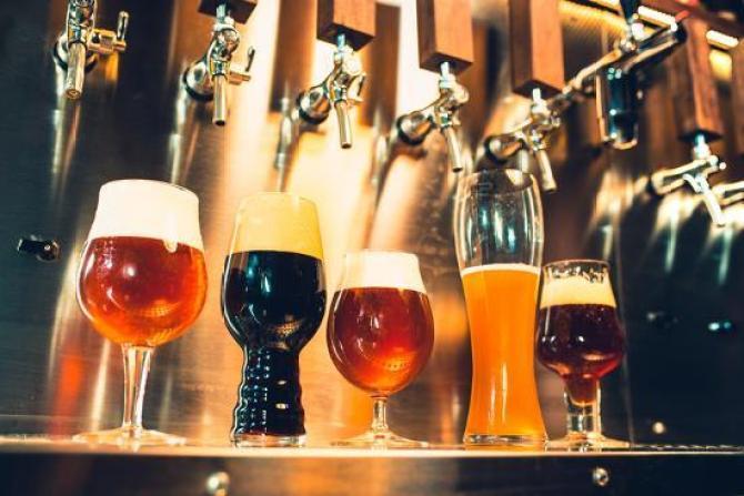 beer on tap at Wasserhund Brewery in Virginia Beach