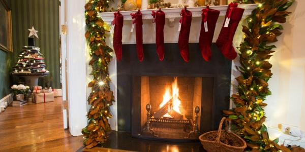 holiday decorations on fireplace