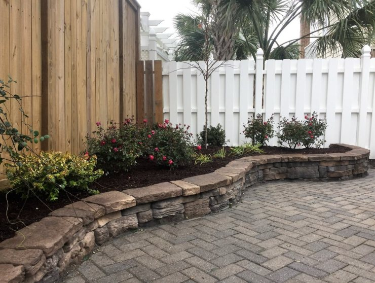 raised paver garden bed, plant and mulch install