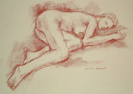 Sleeping - 16 x 11 inches - Conte pencil