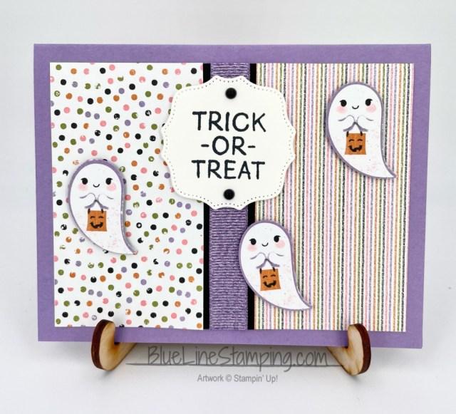 Stampin' Up!, Little Delights, Halloween Punch, Highland Heather Grosgrain Ribbon, Cute Halloween DSP, Hippo & Friends Dies, Jackie Beers
