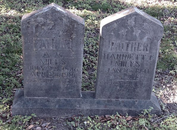 headstones for Miles, father and mother