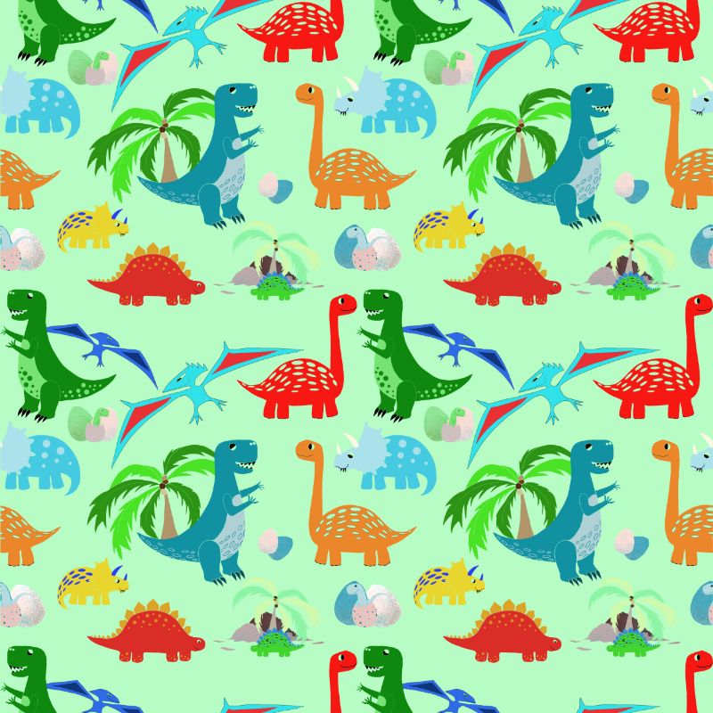 Green Dinosaur Repeat Pattern