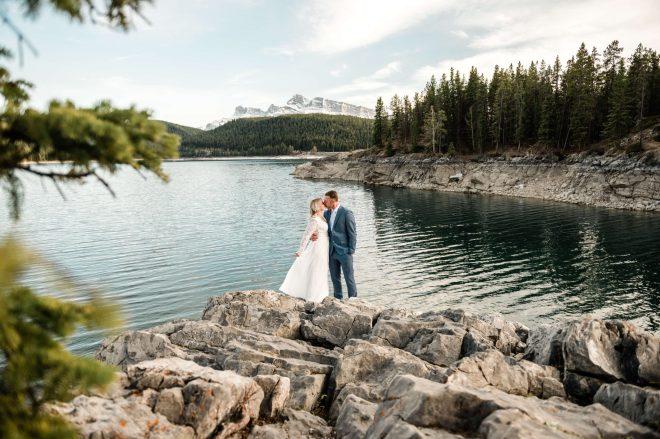 Lake Minnewanka Spring Elopement Intimate Wedding Banff Alberta Canadian Rockies