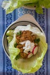 Photo of salsa chicken tacos served in lettuce instead of tortillas