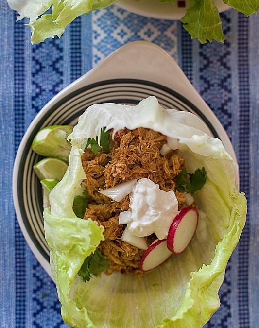Salsa Chicken Lettuce Tacos