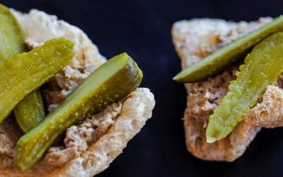 Chicharrones, Cornichons & Chicken Liver Pate Bites