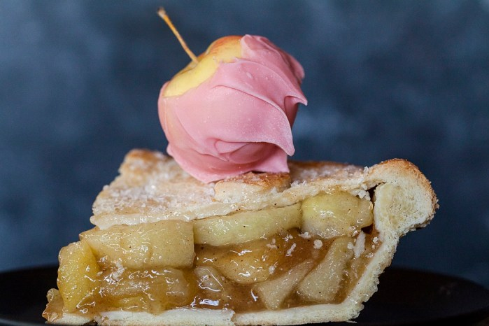 apple pie garnished with pink candy lady apples photo by Jackie Alpers