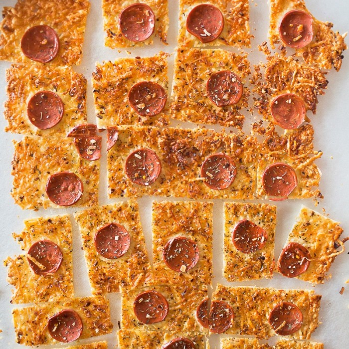 squares of Parmesan Pepperoni Crustless Pizza