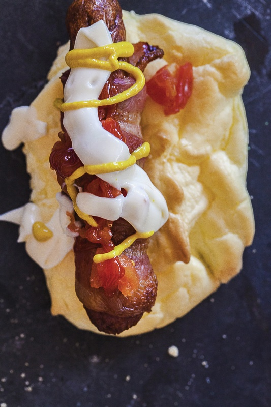 Sonoran-Style Mexican Bacon-Wrapped Hot Dogs