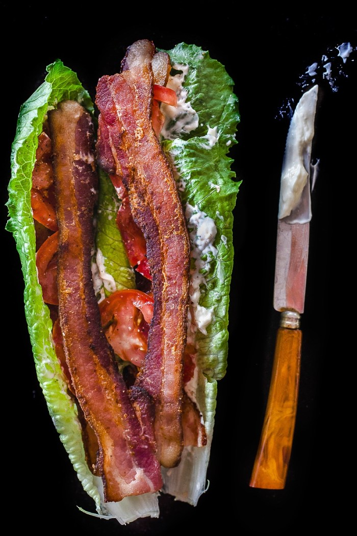 BLT Lettuce wrap with bacon, romaine and mayo