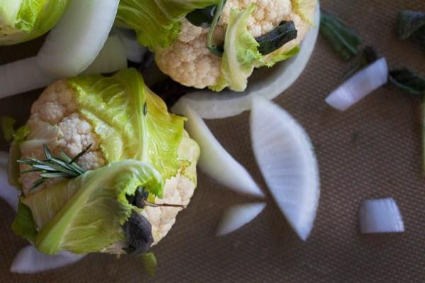 baby cauliflower and herbs recipe prep