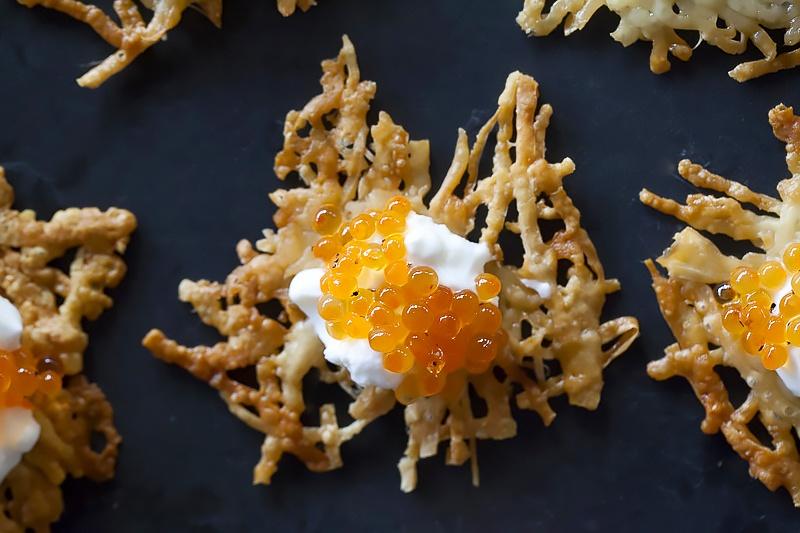 Parmesan crisps with caviar