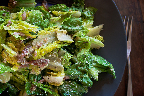 Cesar salad made with romaine, anchovies, parmesan cheese