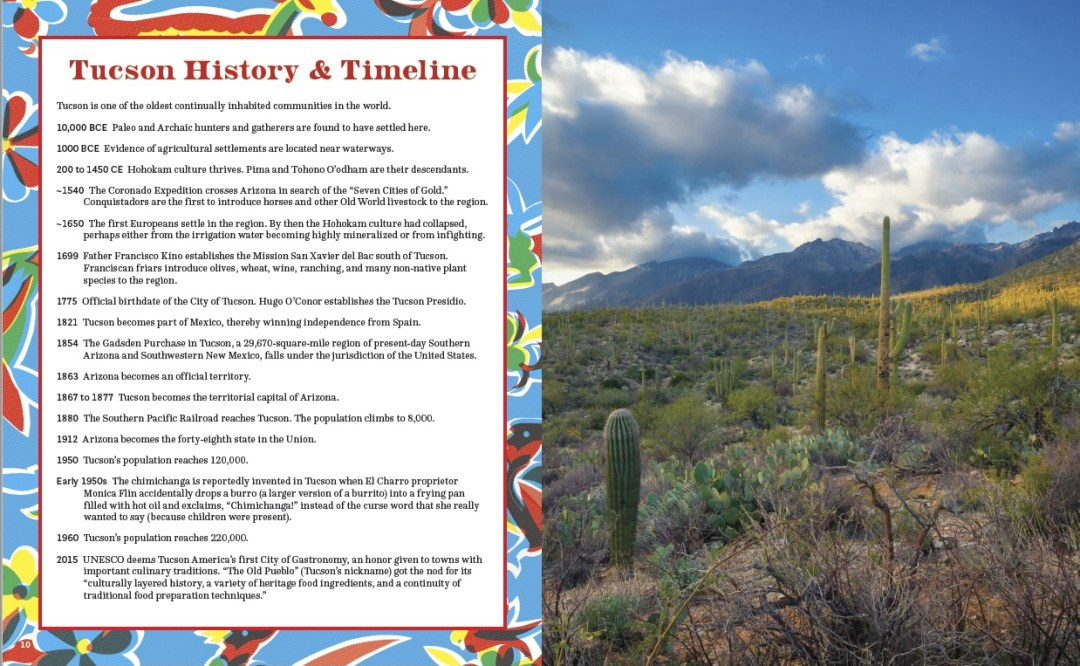 Tucson history and timeline and desert photo page layout of Taste of Tucson cookbook