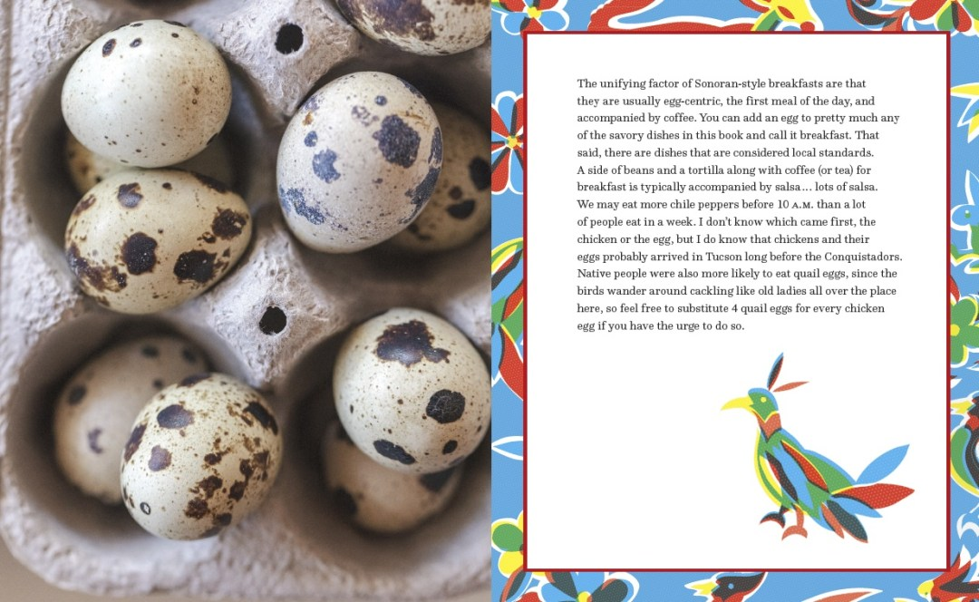 quail eggs in an egg carton and breakfast chapter opener from the Taste of Tucson Cookbook