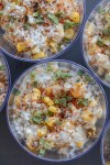 Mexican street corn roasted corn kernels in a cheesy, creamy sauce