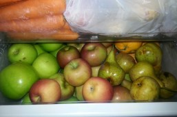 Carrots, cumbers, apples, pears and oranges