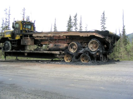 This truck may have been going to auction or it could have been on its way to a new job site.