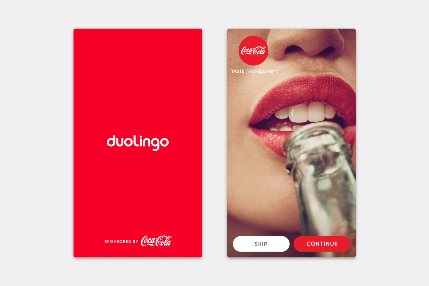 Duolingo Sponsorships - Coca Cola Advertisement