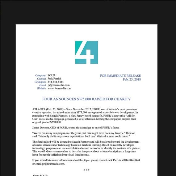 Jack Parrish's Sample Press Release