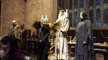 Dumbledore, Snape, McGonagall's costumes along with Mad Eye Moody and Professor Trelawney's costumes in the Great Hall