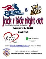Patriots vs Bees Information flyer