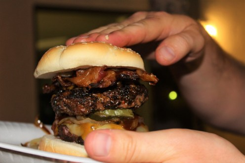 COFFEE RUBBED BURGERS WITH BACON LATTICE SQUARES