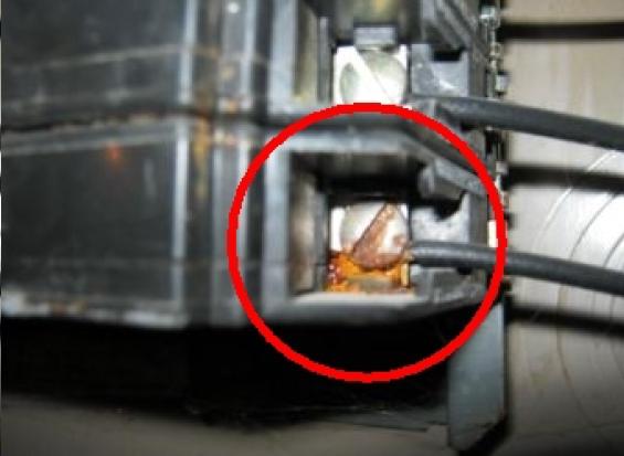 Corrosion on breaker terminal