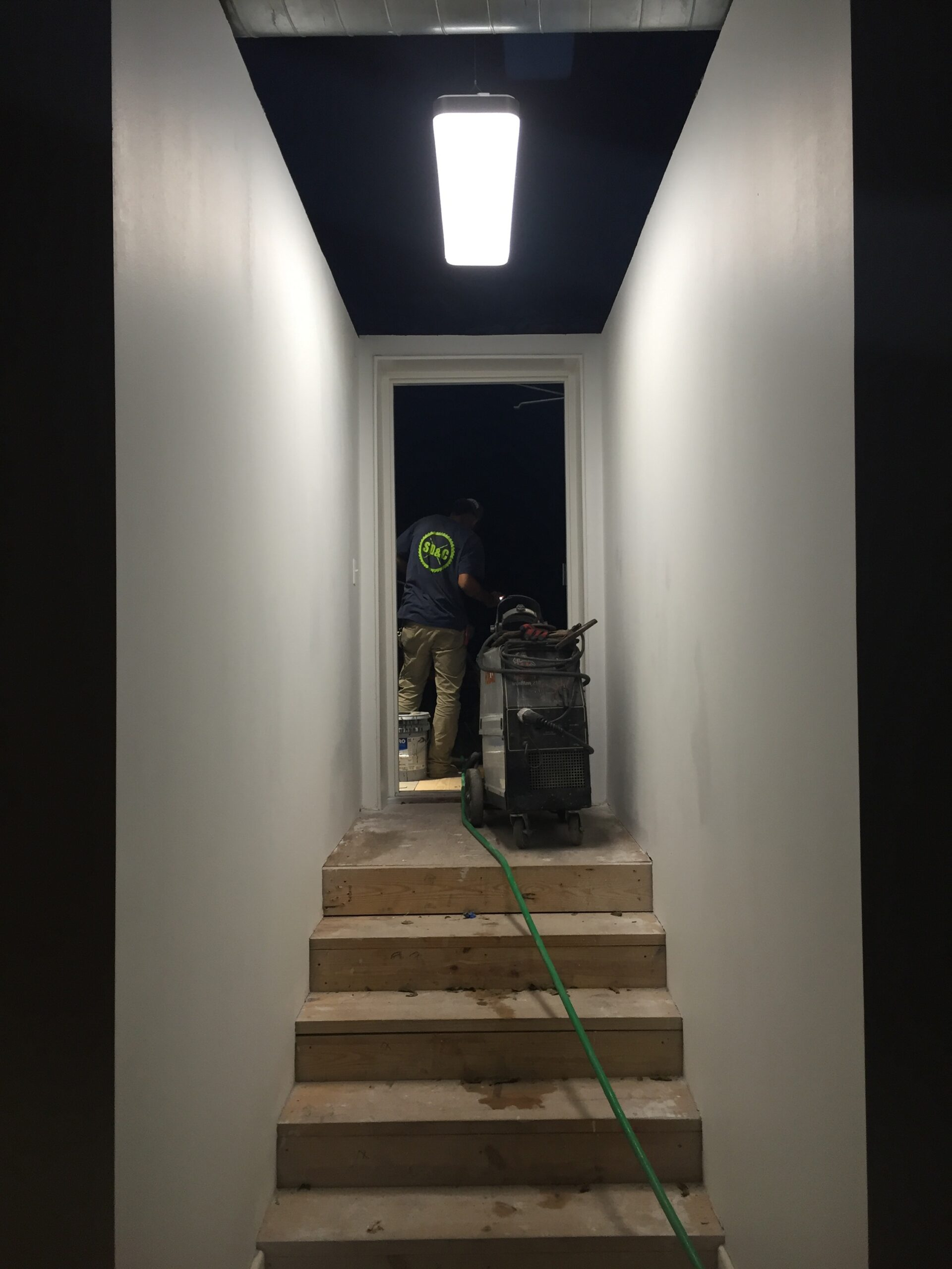 electrical construction commercial led light hallway