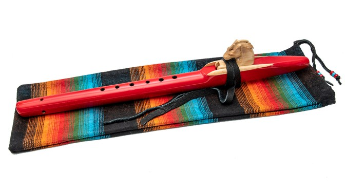 Alaskan Yellow Ceder Flute in Acrylic Red