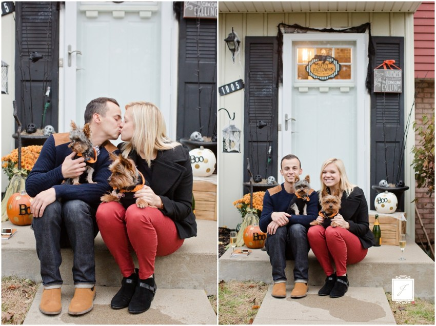 Kelly & Anthony's chaming fall proposal at home by Jackson Signature Photography