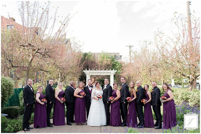 Krista & Matt's dark purple fall Saint Mary of the Mount church ceremony on Mount Washington and The Priory Reception in Pittsburgh