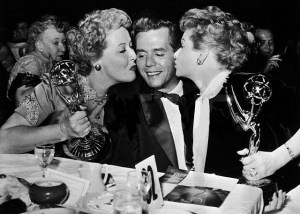 Performer Desi Arnaz Being Kissed by Lucille Ball and Vivian Vance
