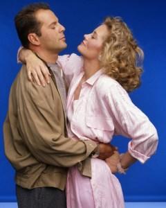 MOONLIGHTING - Gallery - Season Three - 9/25/1986 Bruce Willis (David), Cybill Shepherd (Maddie) (AMERICAN BROADCASTING COMPANIES, INC.)