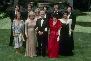"DYNASTY - ""The Wedding"" which aired on May 15, 1985. (Photo by ABC Photo Archives/ABC via Getty Images) PAMELA BELLWOOD;GORDON THOMSON;JOHN JAMES;LINDA EVANS;CATHERINE OXENBERG;JOHN FORSYTHE;MICHAEL PRAED;JOAN COLLINS;DIAHANN CARROLL;MICHAEL NADER"