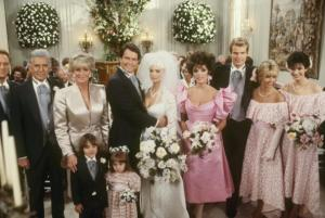 "DYNASTY - ""Shadow Play"" - Airdate May 6, 1987. (Photo by ABC Photo Archives/ABC via Getty Images) CHRISTOPHER CAZENOVE;JOHN FORSYTHE;LINDA EVANS;JAMESON SAMPLEY;JESSICA PLAYER;GORDON THOMSON;LEANN HUNLEY;JACK COLEMAN;HEATHER LOCKLEAR;TERRI GARBER"