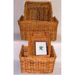 Stick Handle Rectangular Log/Store Baskets