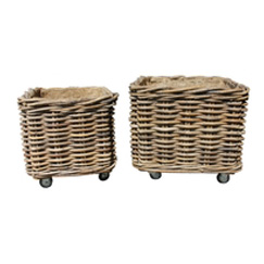 Thick Rattan Square Wheeled Log