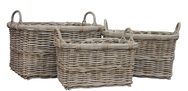 Grey Rattan Rectangular Log/Store Basket with ear handles