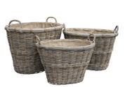 Grey Rattan Oval Log/Store, Hessian Liner