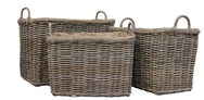Grey Rattan Log/Store with Hessian Liner