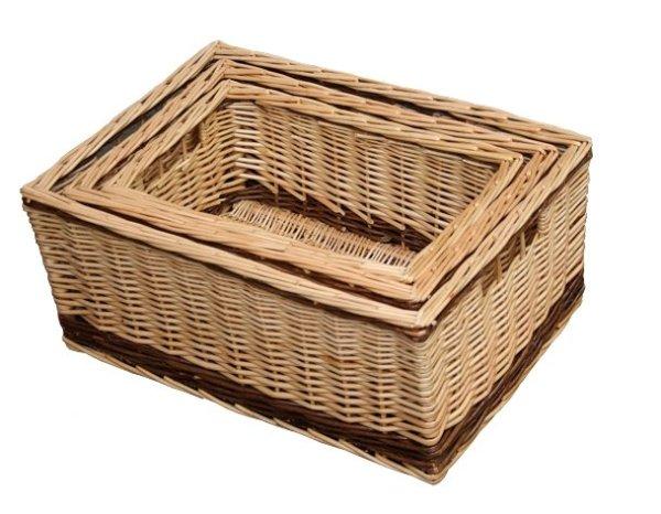 Buff Storage Basket with Rustic Stripe