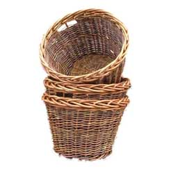 Round Rustic Log Basket with finger holes