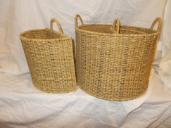 Set of 3 round and half round seagrass baskets
