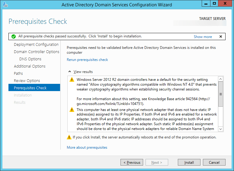 Active Directory Domain Services Configuration Wizard - Prerequisites Check