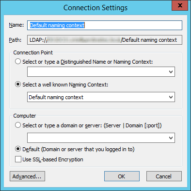 ADSI Edit - Connection Settings - Default naming context