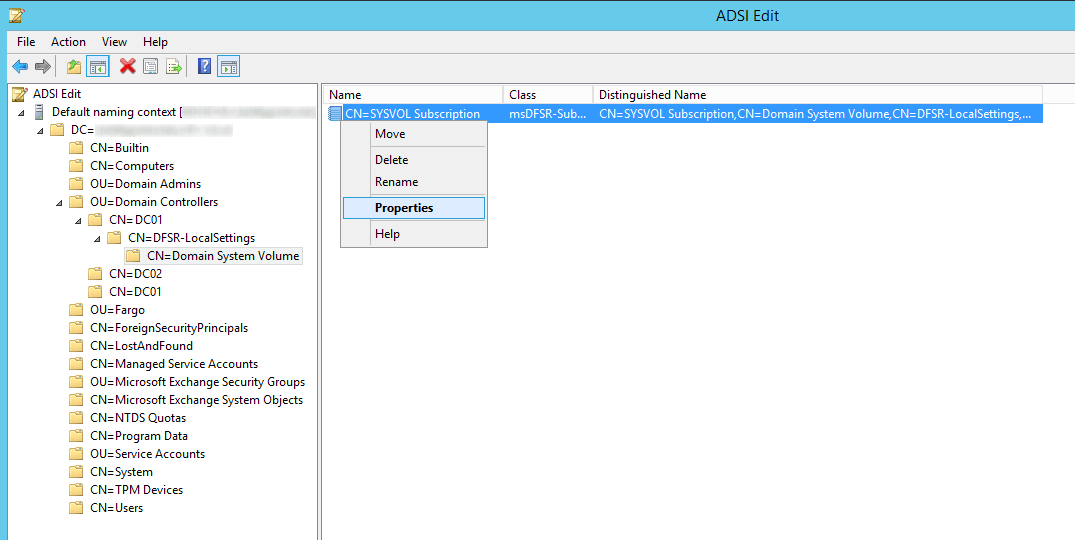 ADSI Edit - Default Naming Context - Domain Controllers - DC01 - DFSR-LocalSettings - Domain System Volume