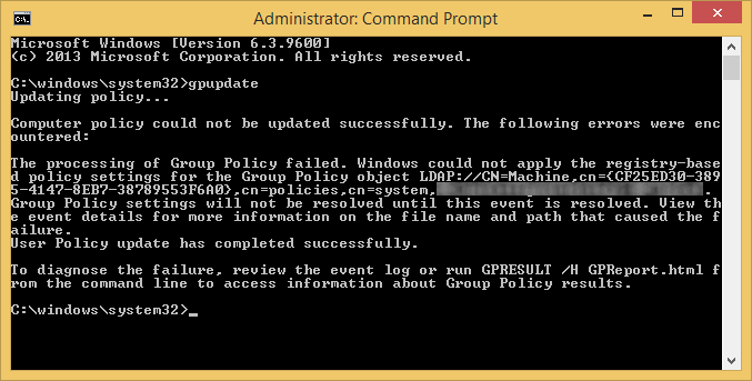 gpupdate - processing of group policy failed - registry-based policy settings