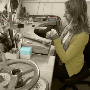 Jacks Turner jewellery designer in her Bristol workshop